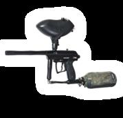 Spyder Xtra - pracuje na poloautomatickém principu (jedno stisknutí spouště = jeden výstřel) a se zásobníkem na 200 kuliček. K pohonu zbraní používáme stlačený vzduch, jsou tak mnohem přesnější a spolehlivější.